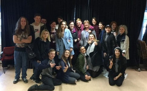 Performing arts students with Harry Fisher from The Voice