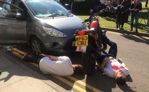 Staged car and motorbike crash at all-ways safe event