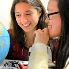 Students Studying Globe