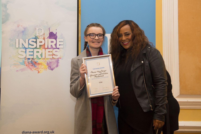 Student receiving Diana award