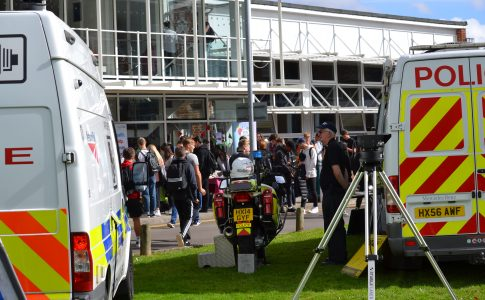 Police vans on front lawn for 'All-Ways Safe' event