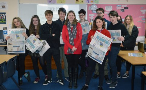 Lymington Times reporter with English students