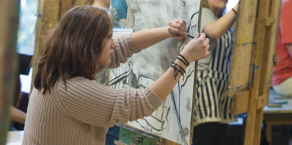Adult taking part in Art Course