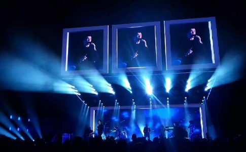 Lighting display at Rick Astley concert