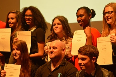 Young students with D of E awards and James Wilson