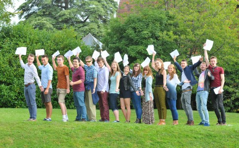 Students celebrating results day 2014