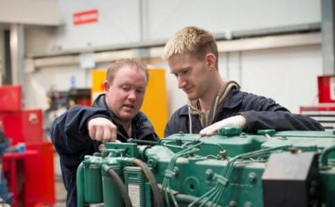 Marine Student working on engine