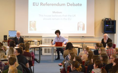 Students watch debate about EU