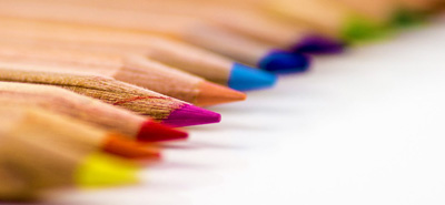 Close up of colouring pencils