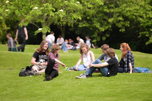 Students socialising on College green