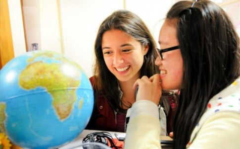 International Students studying globe