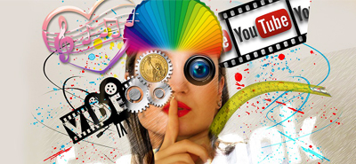 Graphic of woman with youtube logo, musical notes, coins etc