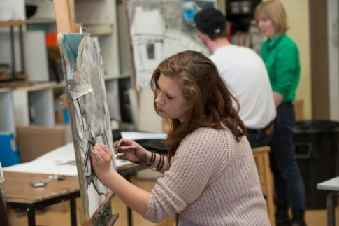 Art Student working at an easel