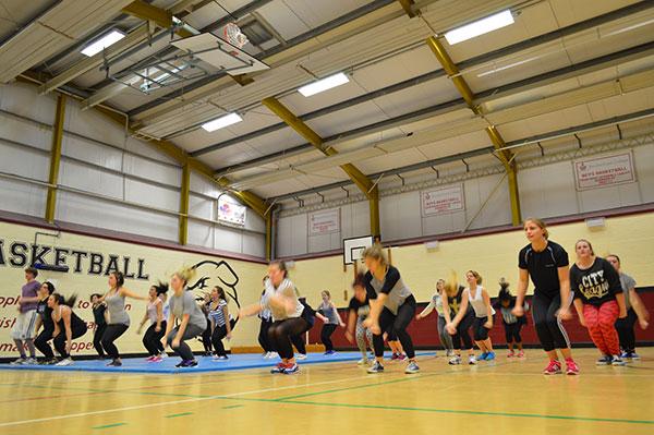 Fitness training in Brock sports hall