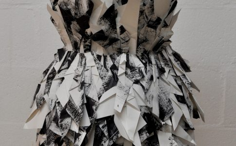 Student work in textiles - black and white dress