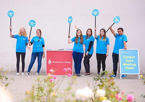 Student Ambassadors preparing for campus tours